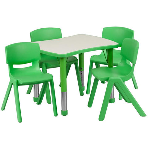 Flash Furniture YU-YCY-098-0034-RECT-TBL-GREEN-GG 21.875''W x 26.625''L Adjustable Rectangular Green Plastic Activity Table Set with 4 School Stack Chairs - Peazz Furniture