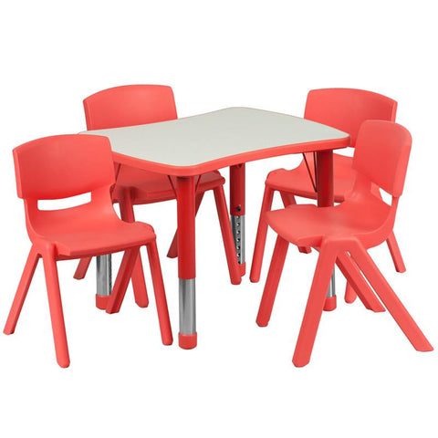 Flash Furniture YU-YCY-098-0034-RECT-TBL-RED-GG 21.875''W x 26.625''L Adjustable Rectangular Red Plastic Activity Table Set with 4 School Stack Chairs - Peazz Furniture