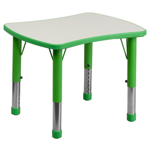 Flash Furniture YU-YCY-098-RECT-TBL-GREEN-GG 21.875''W x 26.625''L Height Adjustable Rectangular Green Plastic Activity Table with Grey Top - Peazz Furniture