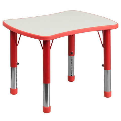 Flash Furniture YU-YCY-098-RECT-TBL-RED-GG 21.875''W x 26.625''L Height Adjustable Rectangular Red Plastic Activity Table with Grey Top - Peazz Furniture