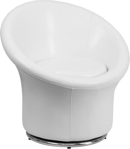 Flash Furniture ZB-3975-WH-GG White Leather Swivel Reception Chair - Peazz Furniture
