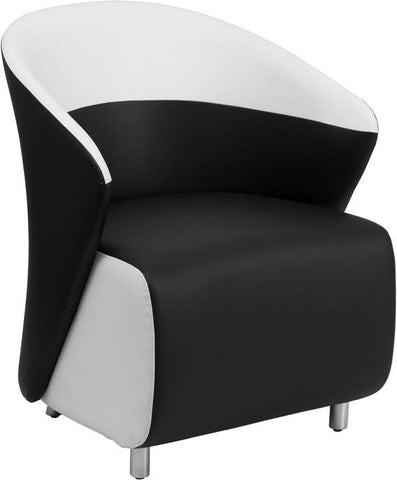 Flash Furniture ZB-7-GG Black Leather Reception Chair with White Detailing - Peazz Furniture