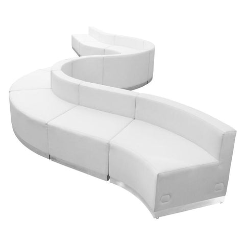 Flash Furniture ZB-803-400-SET-WH-GG HERCULES Alon Series White Leather Reception Configuration, 10 Pieces - Peazz Furniture
