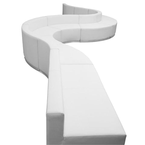 Flash Furniture ZB-803-410-SET-WH-GG HERCULES Alon Series White Leather Reception Configuration, 9 Pieces - Peazz Furniture