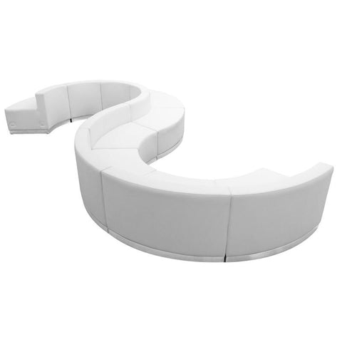 Flash Furniture ZB-803-420-SET-WH-GG HERCULES Alon Series White Leather Reception Configuration, 9 Pieces - Peazz Furniture
