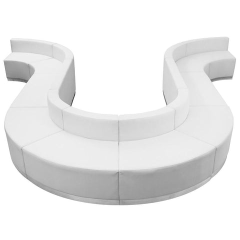 Flash Furniture ZB-803-440-SET-WH-GG HERCULES Alon Series White Leather Reception Configuration, 10 Pieces - Peazz Furniture