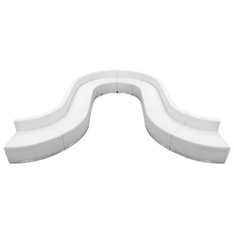 Flash Furniture ZB-803-450-SET-WH-GG HERCULES Alon Series White Leather Reception Configuration, 10 Pieces - Peazz Furniture