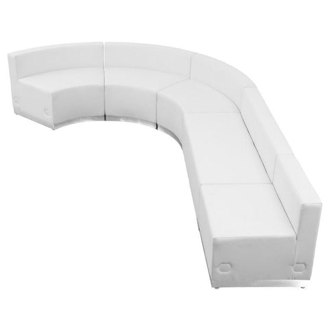Flash Furniture ZB-803-470-SET-WH-GG HERCULES Alon Series White Leather Reception Configuration, 5 Pieces - Peazz Furniture