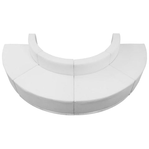 Flash Furniture ZB-803-520-SET-WH-GG HERCULES Alon Series White Leather Reception Configuration, 4 Pieces - Peazz Furniture