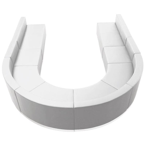 Flash Furniture ZB-803-530-SET-WH-GG HERCULES Alon Series White Leather Reception Configuration, 8 Pieces - Peazz Furniture