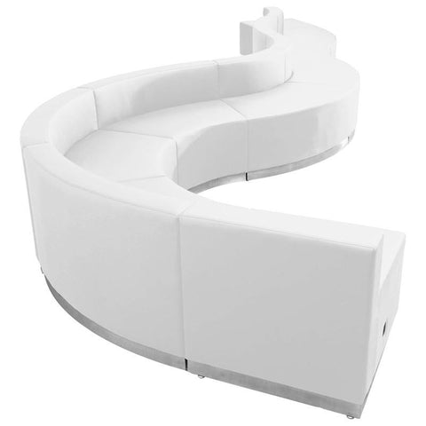 Flash Furniture ZB-803-560-SET-WH-GG HERCULES Alon Series White Leather Reception Configuration, 9 Pieces - Peazz Furniture