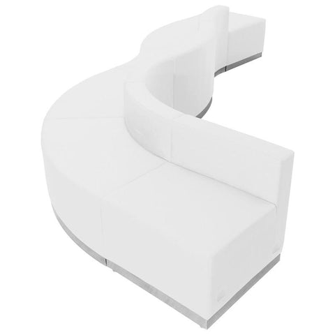 Flash Furniture ZB-803-580-SET-WH-GG HERCULES Alon Series White Leather Reception Configuration, 6 Pieces - Peazz Furniture