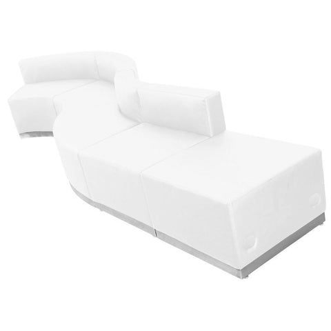 Flash Furniture ZB-803-590-SET-WH-GG HERCULES Alon Series White Leather Reception Configuration, 5 Pieces - Peazz Furniture