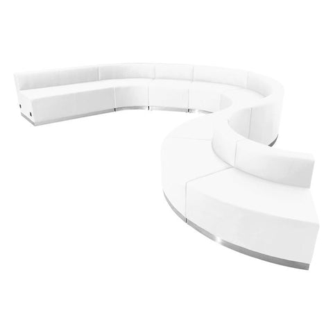 Flash Furniture ZB-803-600-SET-WH-GG HERCULES Alon Series White Leather Reception Configuration, 9 Pieces - Peazz Furniture