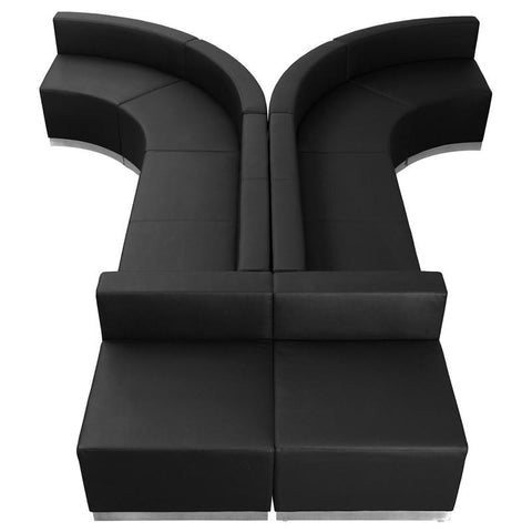 Flash Furniture ZB-803-620-SET-BK-GG HERCULES Alon Series Black Leather Reception Configuration, 8 Pieces - Peazz Furniture