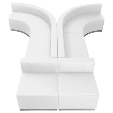 Flash Furniture ZB-803-620-SET-WH-GG HERCULES Alon Series White Leather Reception Configuration, 8 Pieces - Peazz Furniture