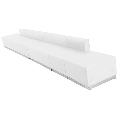 Flash Furniture ZB-803-640-SET-WH-GG HERCULES Alon Series White Leather Reception Configuration, 6 Pieces - Peazz Furniture