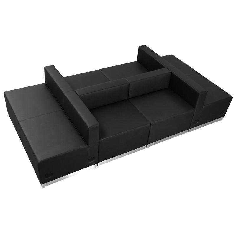 Flash Alon Series Black Leather Reception Configuration Pieces Hercules Furniture Image