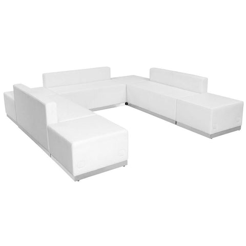 Flash Furniture ZB-803-660-SET-WH-GG HERCULES Alon Series White Leather Reception Configuration, 7 Pieces - Peazz Furniture