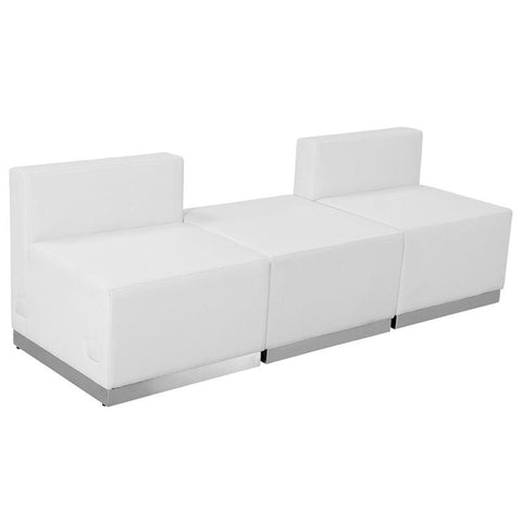 Flash Furniture ZB-803-670-SET-WH-GG HERCULES Alon Series White Leather Reception Configuration, 3 Pieces - Peazz Furniture