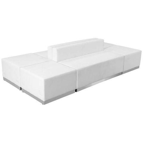 Flash Furniture ZB-803-690-SET-WH-GG HERCULES Alon Series White Leather Reception Configuration, 6 Pieces - Peazz Furniture