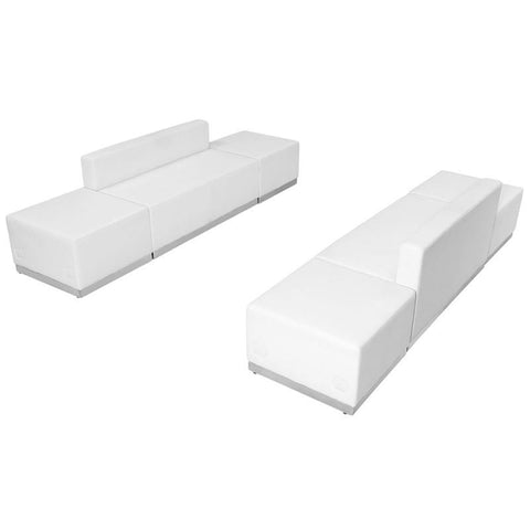 Flash Furniture ZB-803-700-SET-WH-GG HERCULES Alon Series White Leather Reception Configuration, 6 Pieces - Peazz Furniture