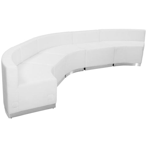 Flash Furniture ZB-803-820-SET-WH-GG HERCULES Alon Series White Leather Reception Configuration, 5 Pieces - Peazz Furniture