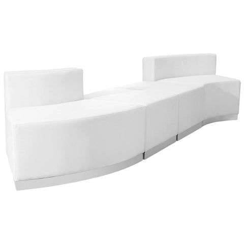 Flash Furniture ZB-803-860-SET-WH-GG HERCULES Alon Series White Leather Reception Configuration, 4 Pieces - Peazz Furniture