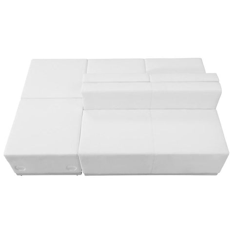 Flash Furniture ZB-803-880-SET-WH-GG HERCULES Alon Series White Leather Reception Configuration, 4 Pieces - Peazz Furniture