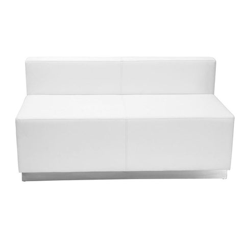 Flash Furniture ZB-803-LS-WH-GG HERCULES Alon Series White Leather Loveseat with Brushed Stainless Steel Base - Peazz Furniture