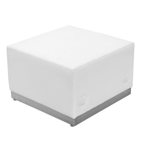 Flash Furniture ZB-803-OTTOMAN-WH-GG HERCULES Alon Series White Leather Ottoman with Brushed Stainless Steel Base - Peazz Furniture