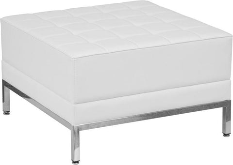 Flash Furniture ZB-IMAG-OTTOMAN-WH-GG HERCULES Imagination Series White Leather Ottoman - Peazz Furniture
