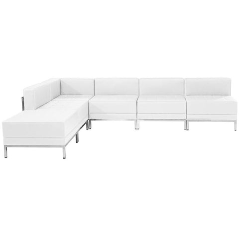 Flash Furniture ZB-IMAG-SECT-SET10-WH-GG HERCULES Imagination Series White Leather Sectional Configuration, 6 Pieces - Peazz Furniture