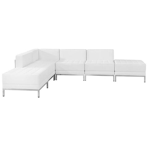 Flash Furniture ZB-IMAG-SECT-SET8-WH-GG HERCULES Imagination Series White Leather Sectional Configuration, 6 Pieces - Peazz Furniture
