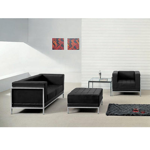 Flash Furniture ZB-IMAG-SET11-GG HERCULES Imagination Series Black Leather Loveseat, Chair & Ottoman Set - Peazz Furniture