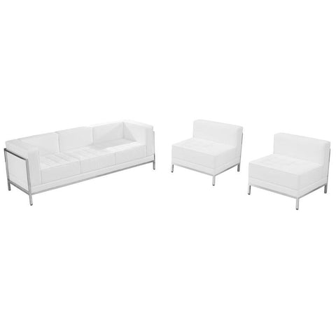 Flash Furniture ZB-IMAG-SET13-WH-GG HERCULES Imagination Series White Leather Sofa & Chair Set - Peazz Furniture