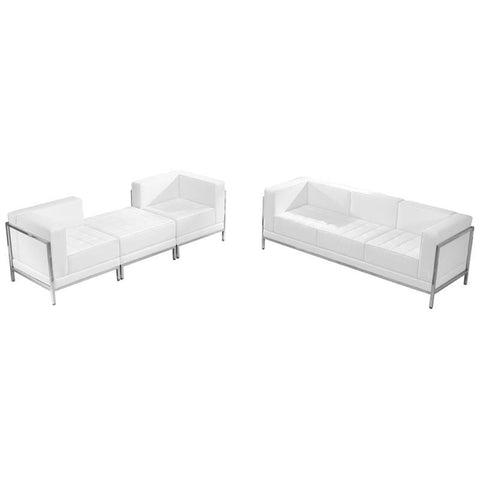 Flash Furniture ZB-IMAG-SET15-WH-GG HERCULES Imagination Series White Leather Sofa & Lounge Chair Set, 4 Pieces - Peazz Furniture