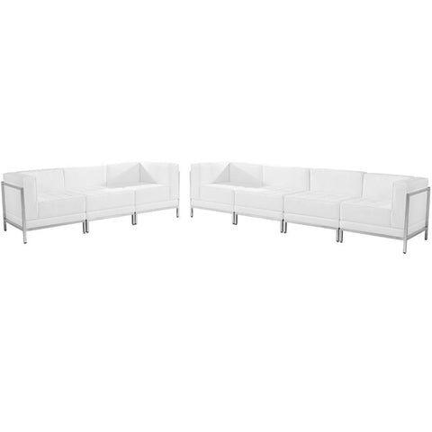 Flash Furniture ZB-IMAG-SET17-WH-GG HERCULES Imagination Series White Leather Sofa Set, 5 Pieces - Peazz Furniture