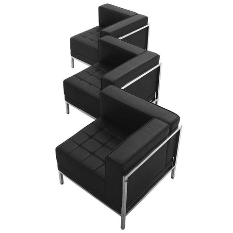 Flash Furniture ZB-IMAG-SET4-GG HERCULES Imagination Series Black Leather 3 Piece Corner Chair Set - Peazz Furniture