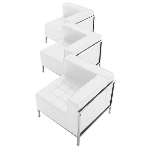 Flash Furniture ZB-IMAG-SET4-WH-GG HERCULES Imagination Series White Leather 3 Piece Corner Chair Set - Peazz Furniture