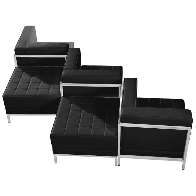 Imagination Series Black Leather Chair Ottoman Set 11786 Product Photo