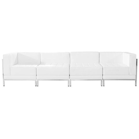 Flash Furniture ZB-IMAG-SET8-WH-GG HERCULES Imagination Series White Leather 4 Piece Lounge Set - Peazz Furniture