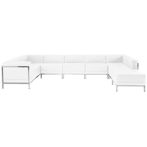 Flash Furniture ZB-IMAG-U-SECT-SET4-WH-GG HERCULES Imagination Series White Leather U-Shape Sectional Configuration, 7 Pieces - Peazz Furniture
