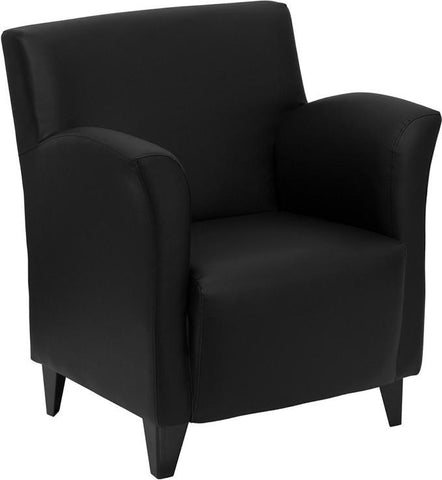 HERCULES Roman Series Black Leather Reception Chair ZB-ROMAN-BLACK-GG by Flash Furniture - Peazz Furniture