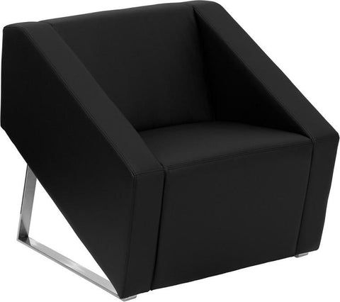 HERCULES Smart Series Black Leather Reception Chair ZB-SMART-BLACK-GG by Flash Furniture - Peazz Furniture