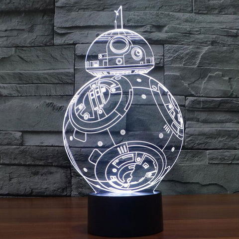 Death Star / BB-8 / R2-D2 / AT-AT / Darth Vader /  Yoda / Stormtrooper / Millenium Falcon -  3D Light