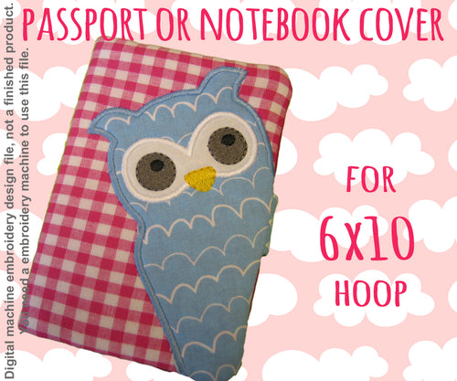 PASSPORT OR NOTEBOOK COVER - OWL 2 - 6X10 HOOP - ITH - IN THE HOOP - MACHINE EMBROIDERY DESIGN FILE, DIGITAL DOWNLOAD millymellydesigns