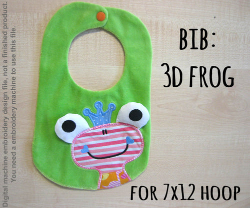 ITH embroidery design - BIB - 3D frog - Machine Embroidery Design File, digital download millymellydesigns