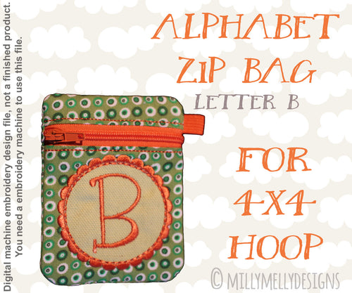 Letter B - Alphabet zipper pouch - In The Hoop - Machine Embroidery Design File, digital download millymellydesigns