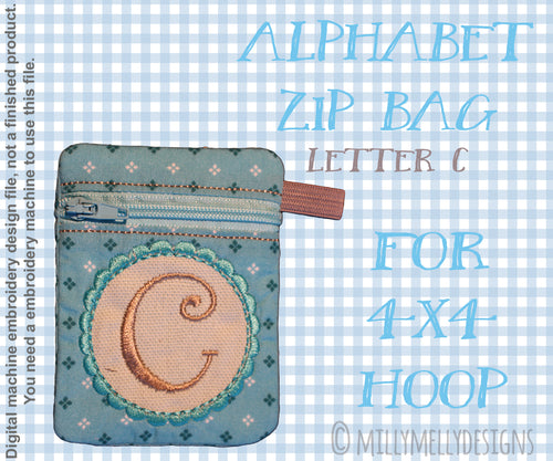 Letter C - Alphabet zipper pouch - In The Hoop - Machine Embroidery Design File, digital download millymellydesigns